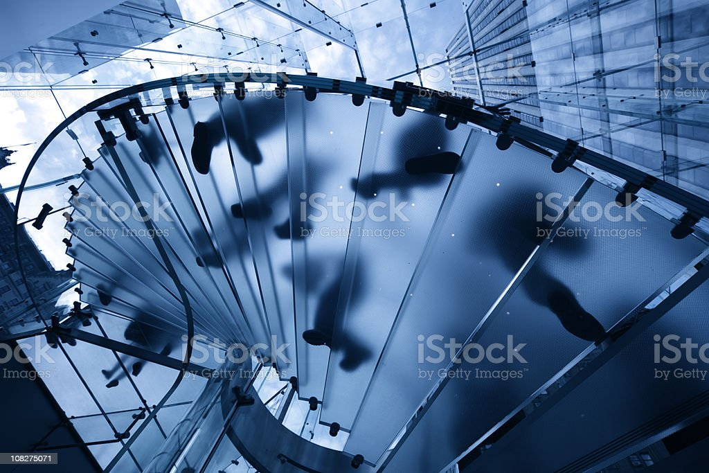modern glass staircase in new york royalty-free stock photo
