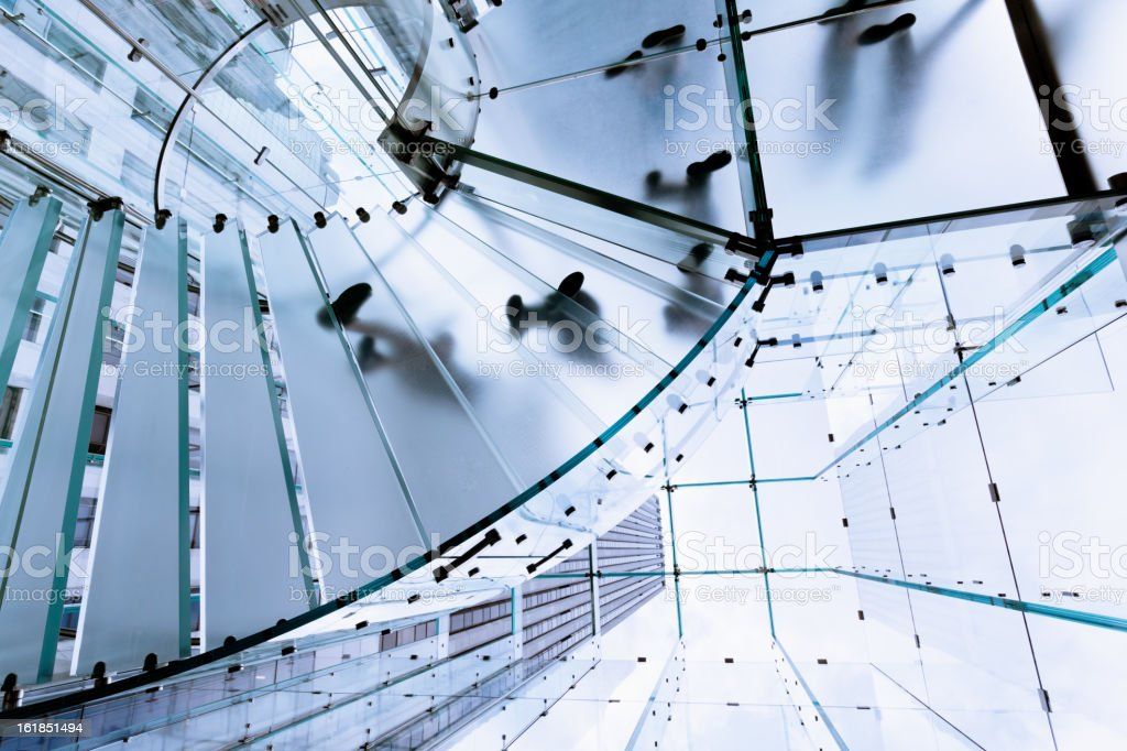 Modern Glass Stairway Footprints royalty-free stock photo