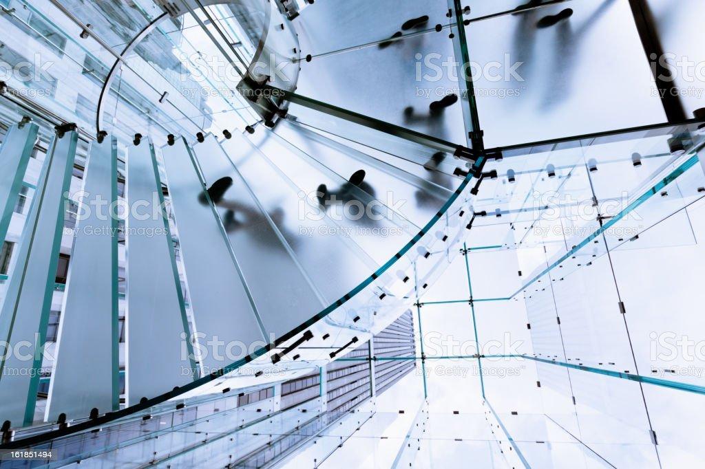 Modern Glass Stairway Footprints stock photo