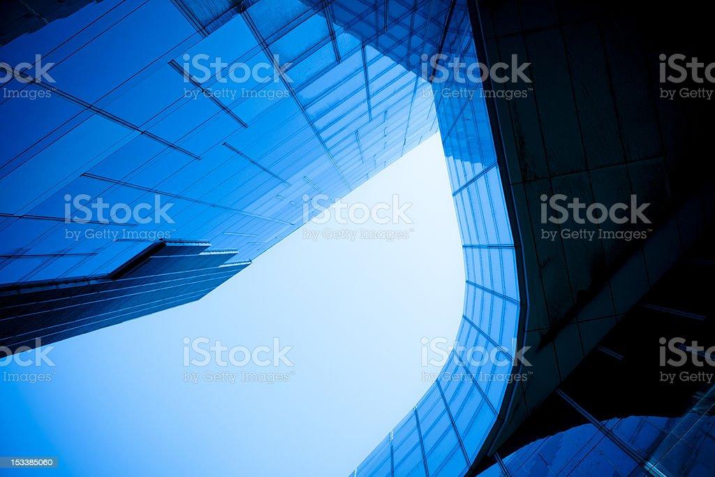 Modern glass wall building, mesh pattern stock photo