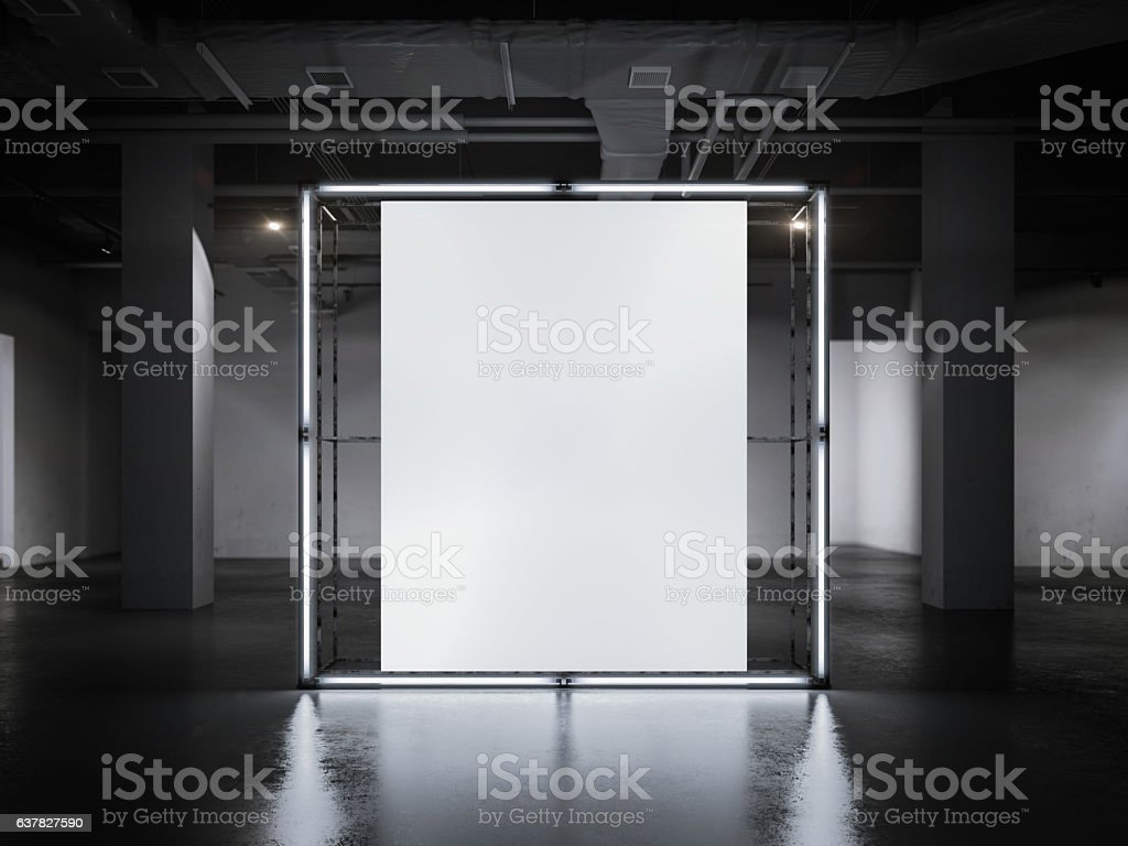 Modern glowing showcase with blank frame. 3d rendering stock photo