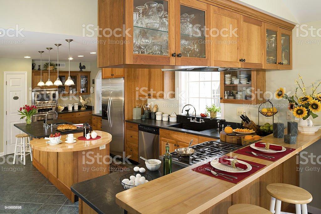 Modern gourmet kitchen with breakfast. stock photo
