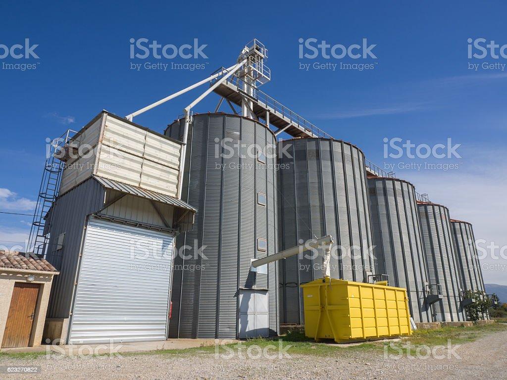 Modern grain silos stock photo