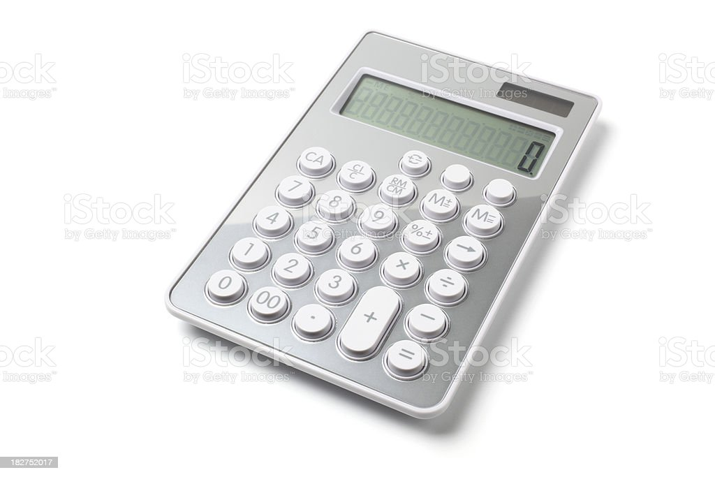 Modern gray calculator on white background stock photo
