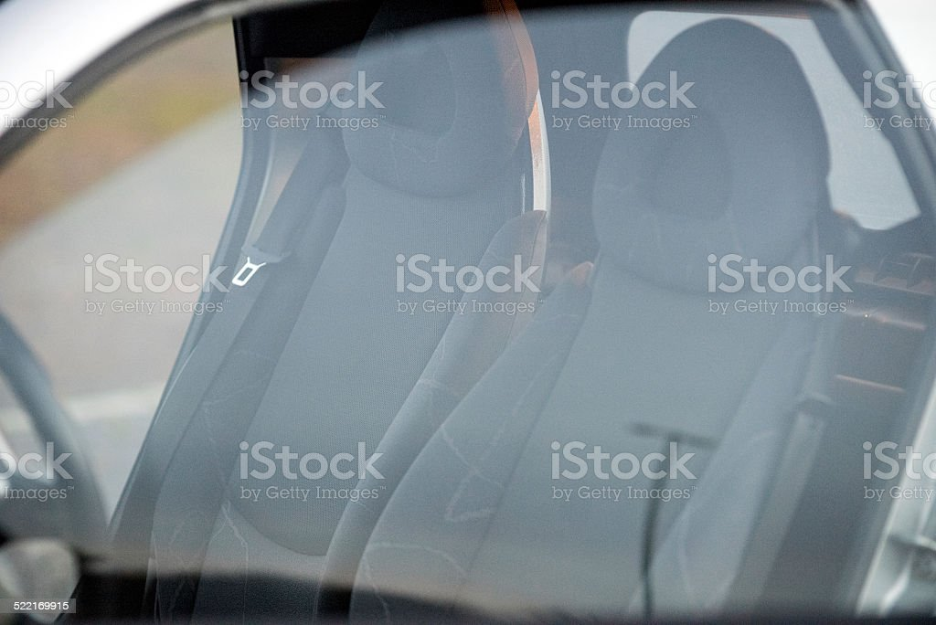 Modern gray velour car seats stock photo