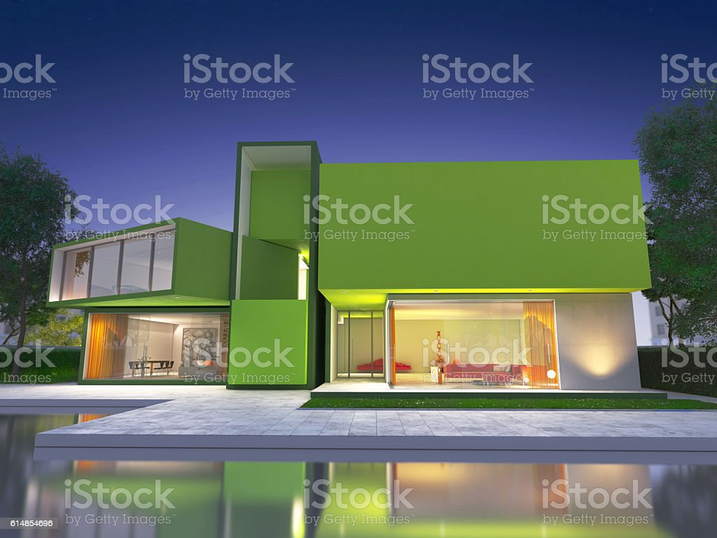 Modern green house stock photo
