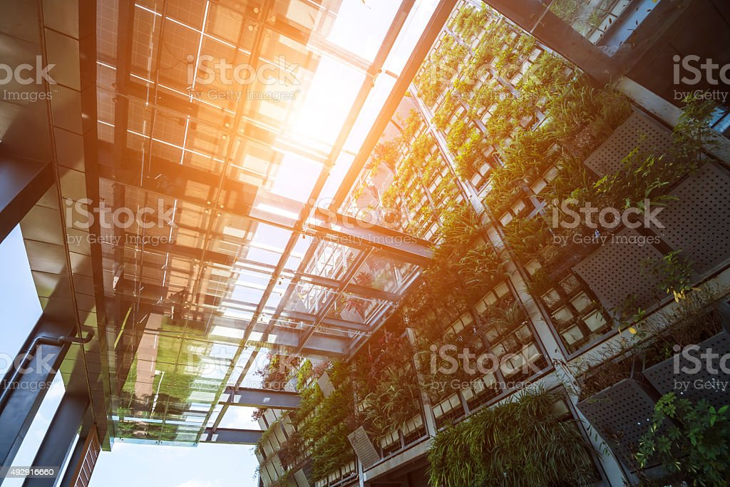 Modern green office building stock photo