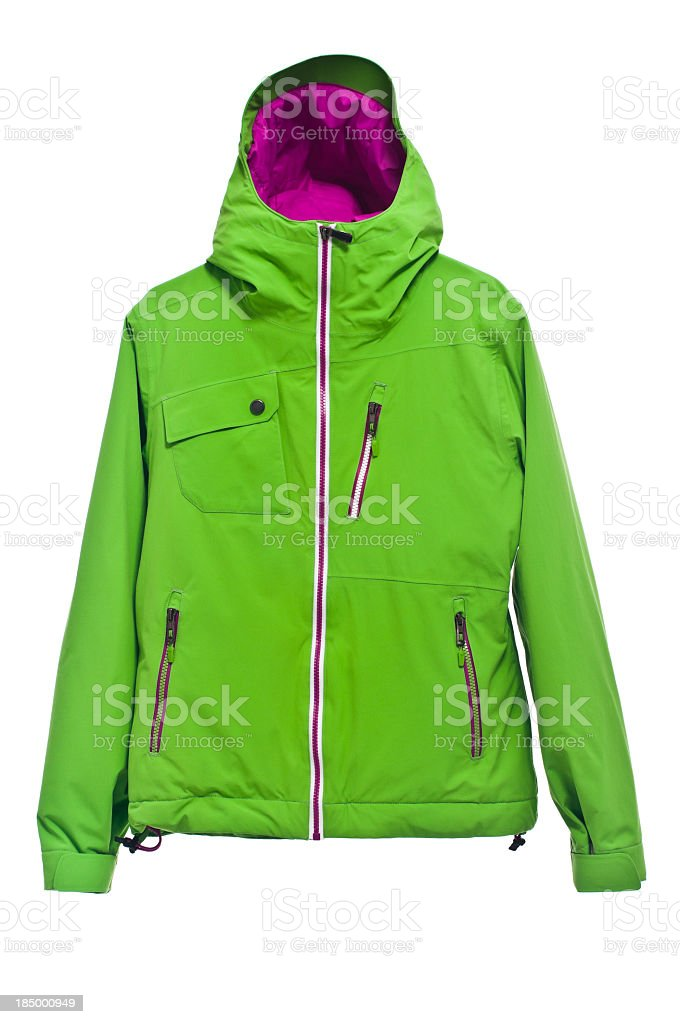 Modern green ski jacket isolated on white background, studio shot stock photo