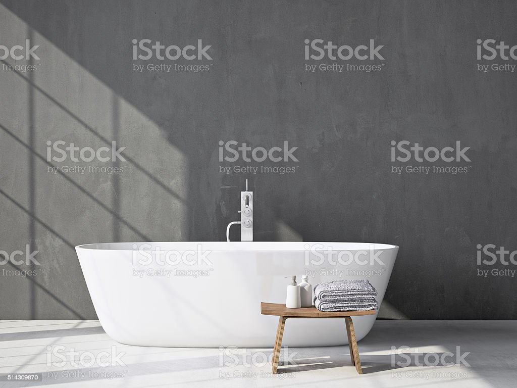 Modern grey bathroom with bathtub. 3d rendering stock photo