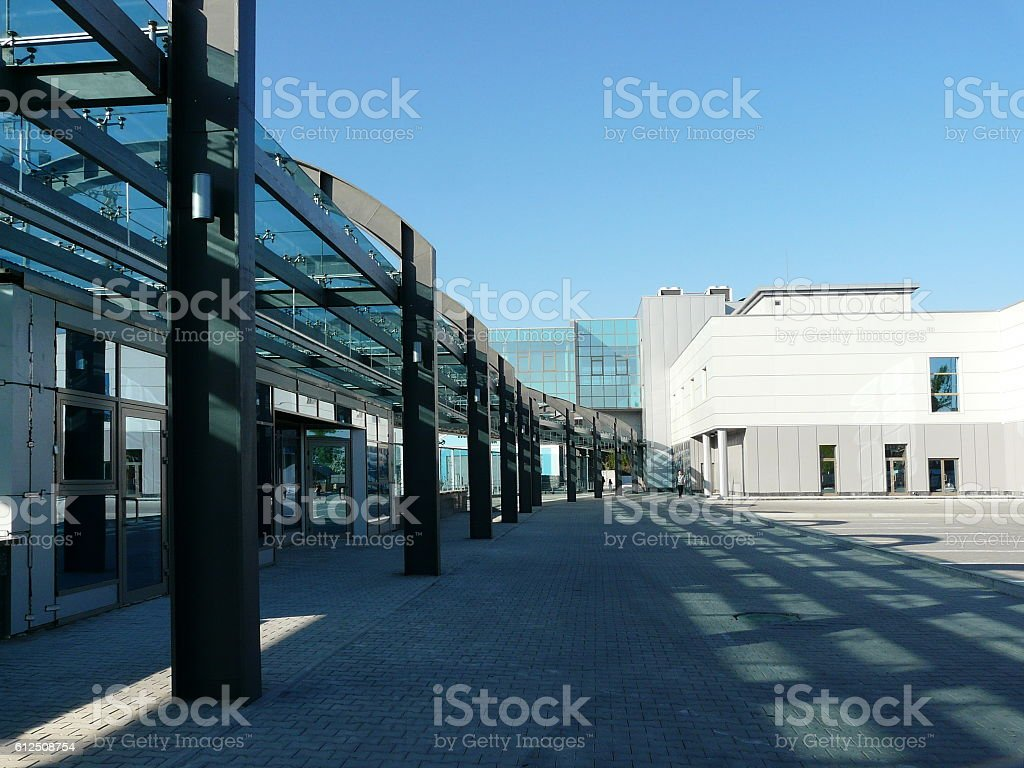 Modern Ground Level Railway Station in Early Morning stock photo