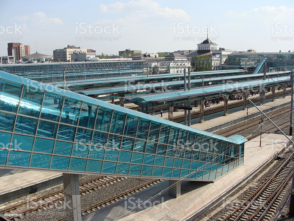 Modern Ground Level Railway Station Platform From Above stock photo