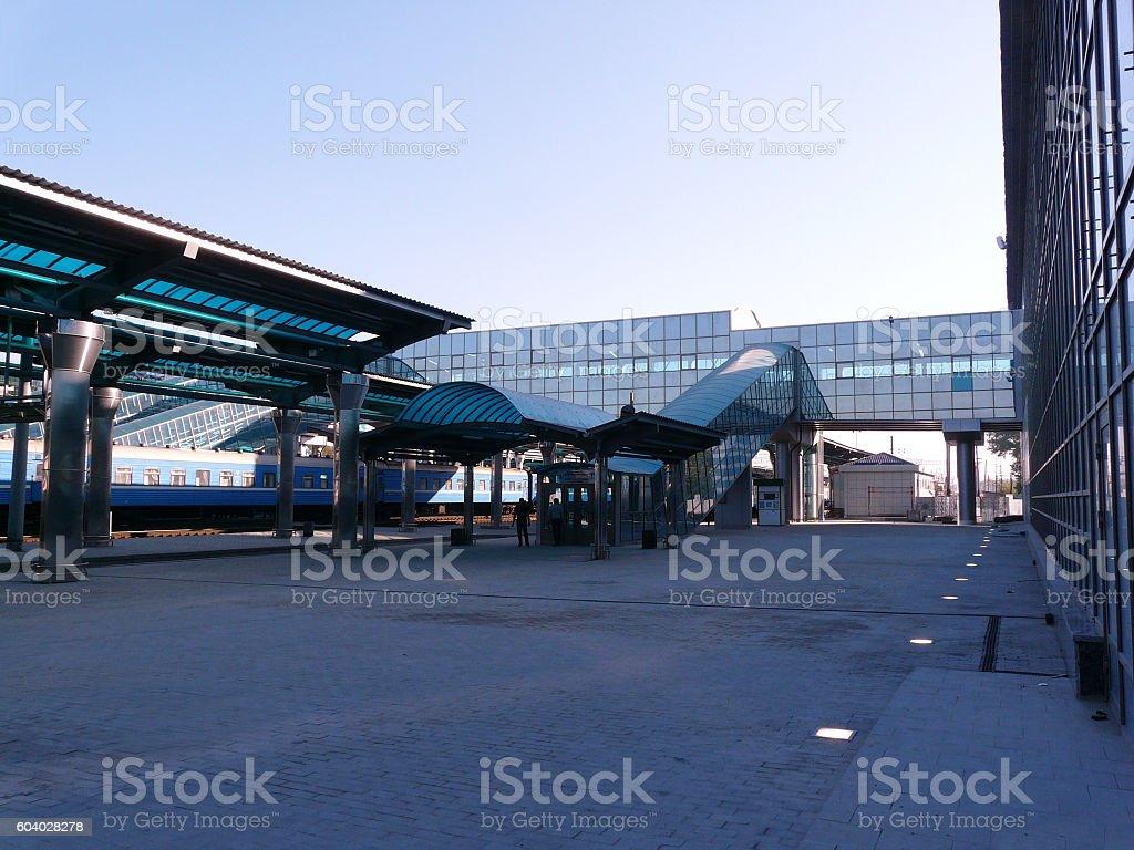 Modern Ground Level Railway Station Platform stock photo