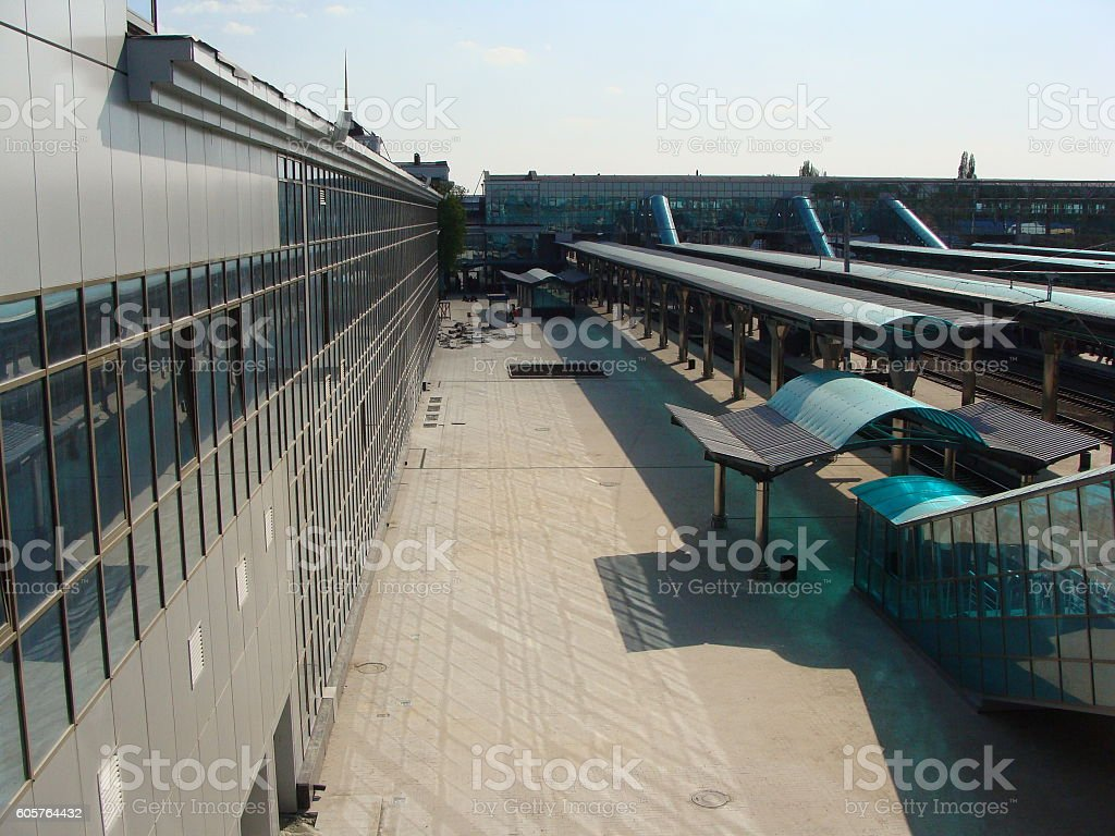 Modern Ground Level Railway Station. View From Above. stock photo