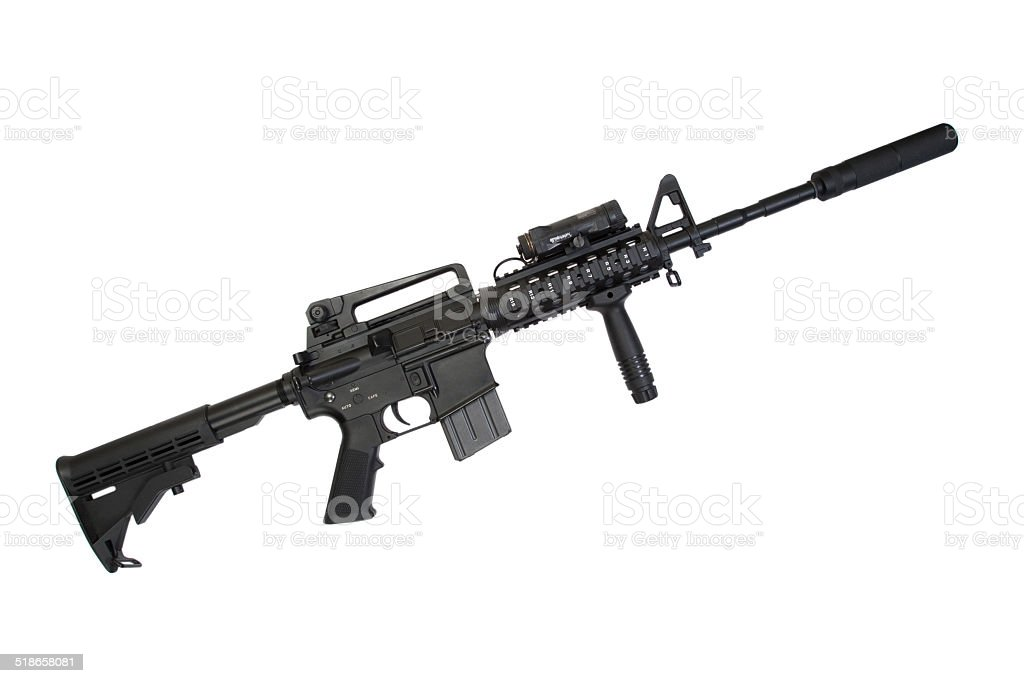 Modern Gun With Silencer Isolated On A White Background stock photo ...
