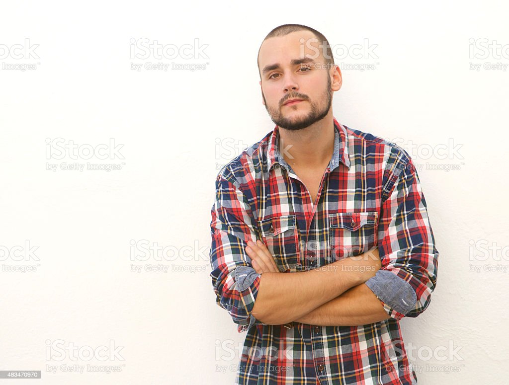 Modern guy with short hair and beard stock photo