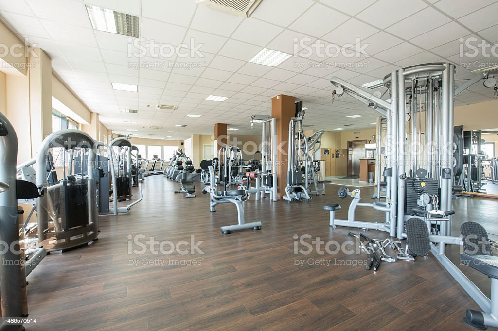 Modern gym interior stock photo
