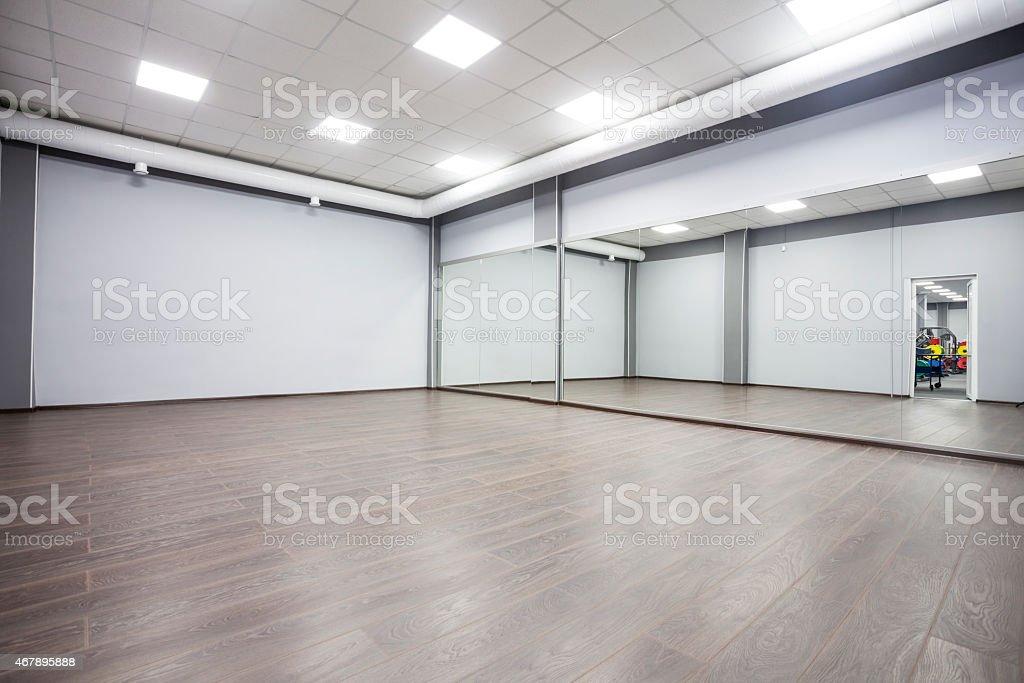 modern gymnastics room with mirrors stock photo