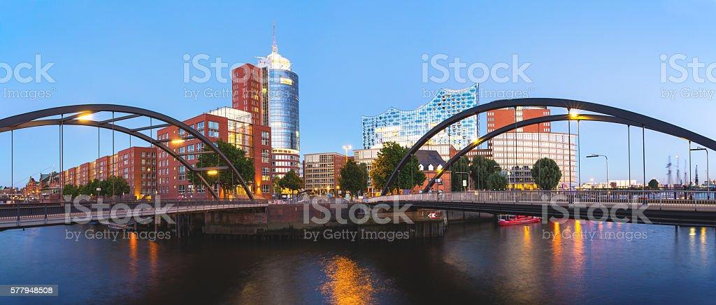 Modern HafenCity in the harbor of Hamburg stock photo
