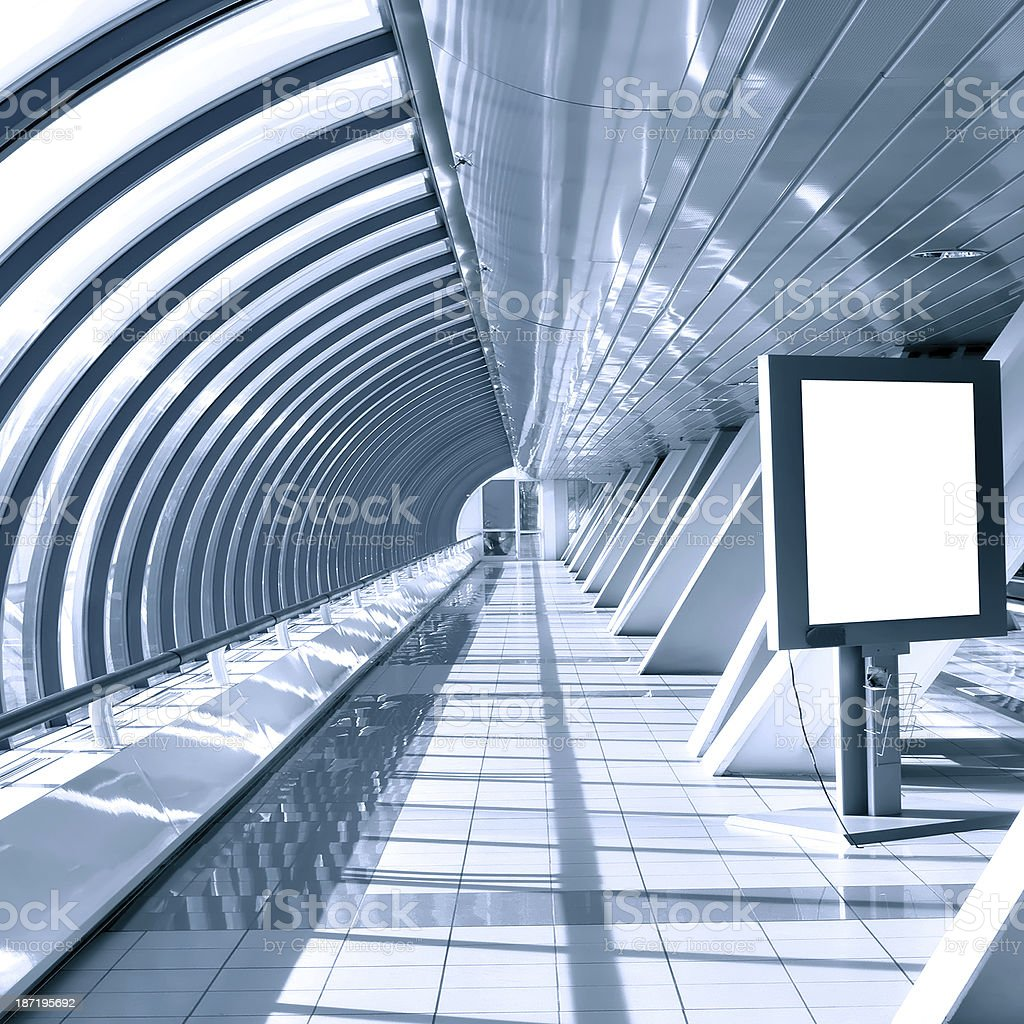 modern hall with white placard royalty-free stock photo