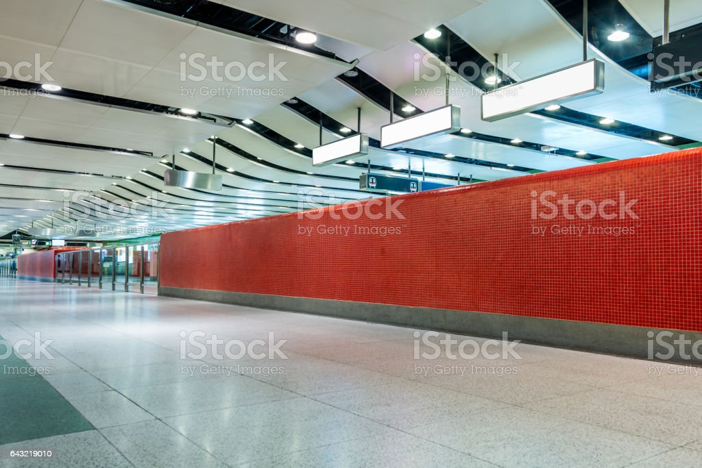 modern hallway of airport or subway station stock photo