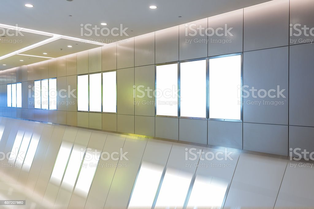 modern hallway of airport or subway station with blank billboards stock photo