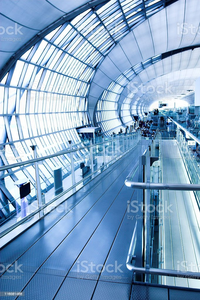 Modern hallway with curved walls and windows royalty-free stock photo