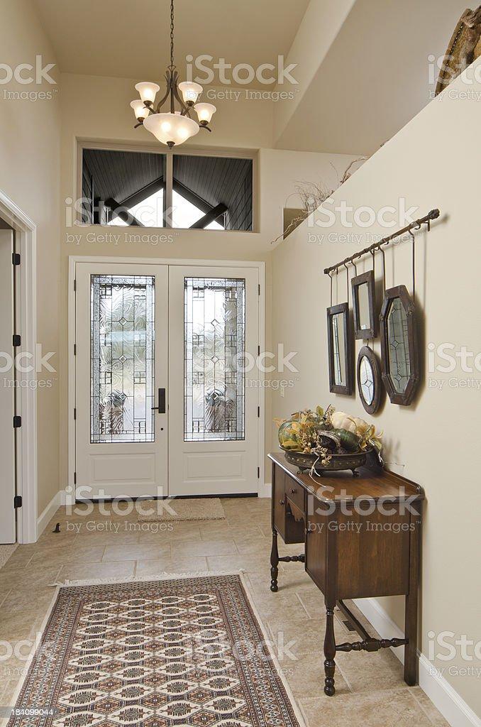 Modern hallway with glass door stock photo