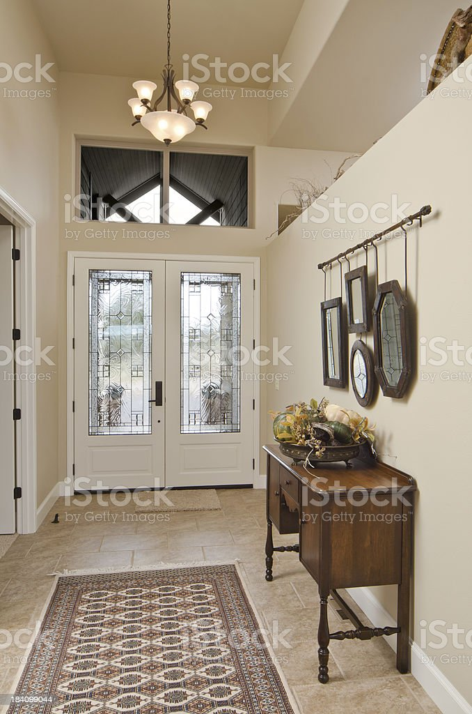 Modern hallway with glass door stock photo