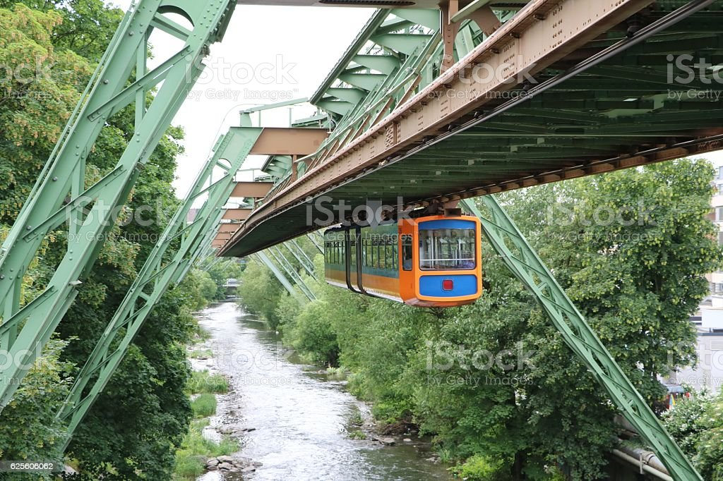 Modern hanging railway in Wuppertal, Germany stock photo