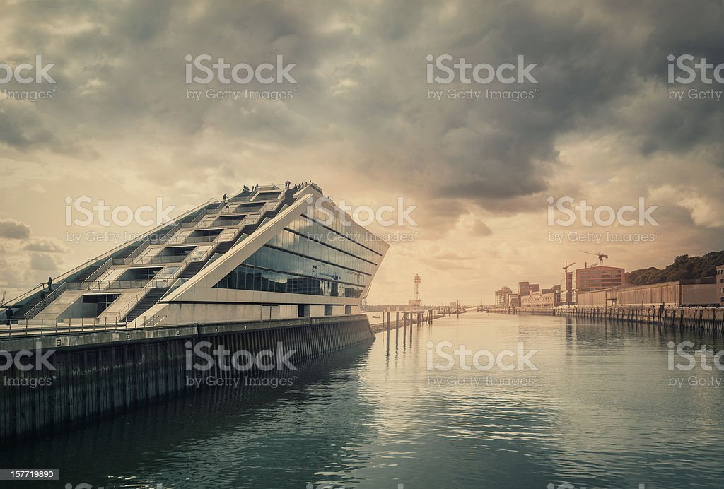 Modern harbour - office building stock photo