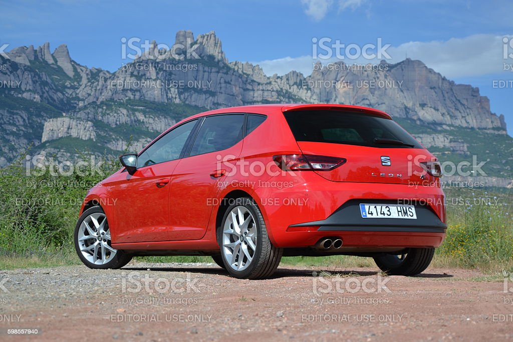Modern hatchback on the road stock photo