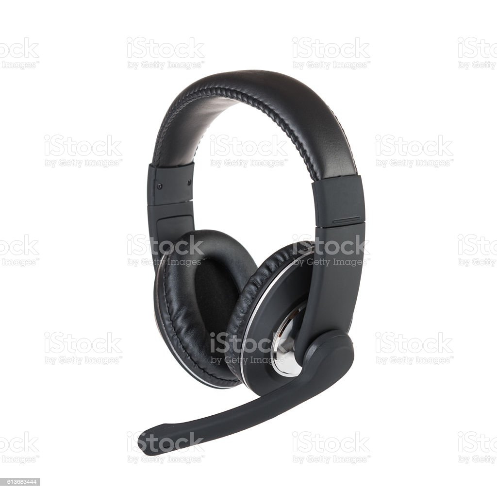 Modern headset isolated stock photo