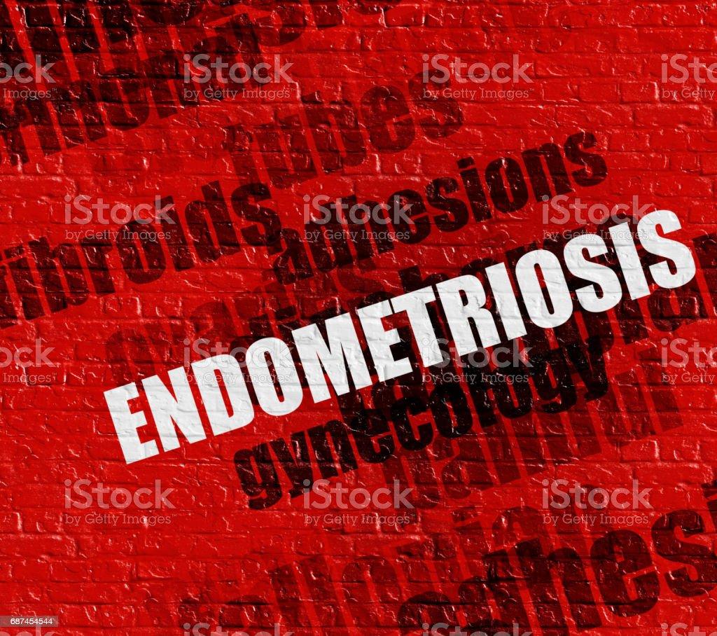 Modern healthcare concept: Endometriosis on Red Brickwall stock photo