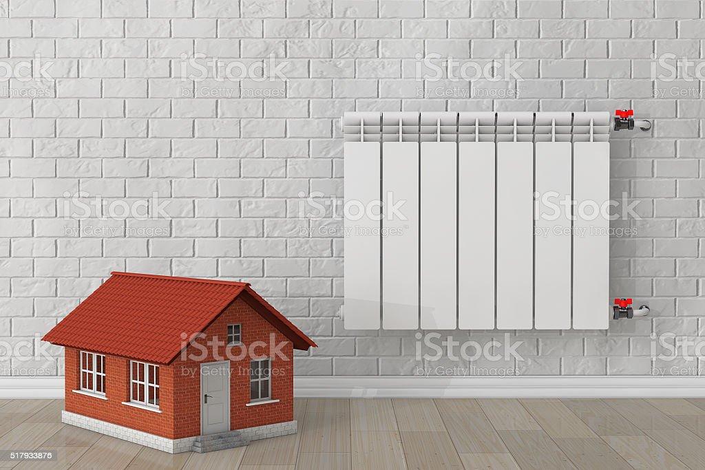 Modern Heating Radiator with Home stock photo