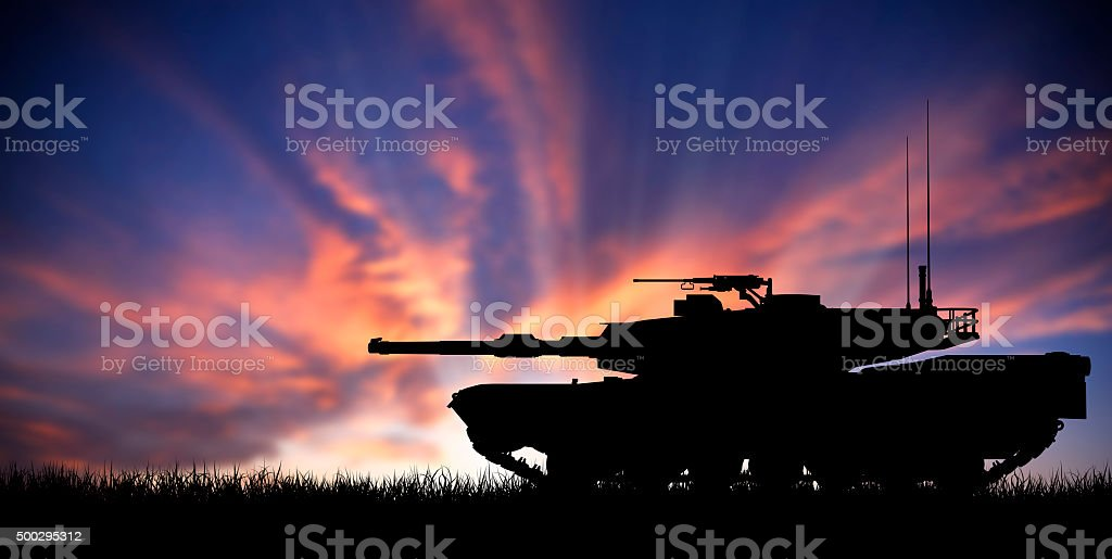 Modern heavy tank at sunset stock photo