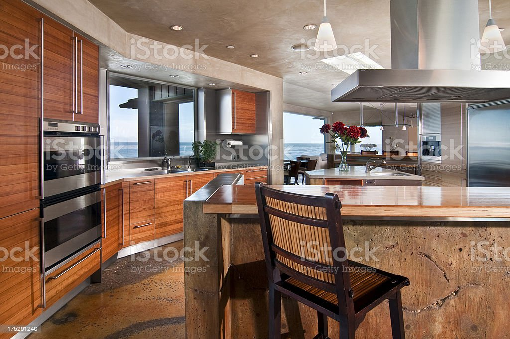Modern Hi Tech Kitchen with Concrete Finish royalty-free stock photo