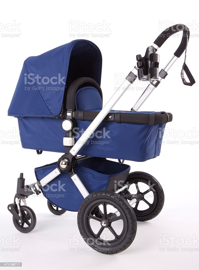 Modern high end blue baby buggy with cup holder stock photo