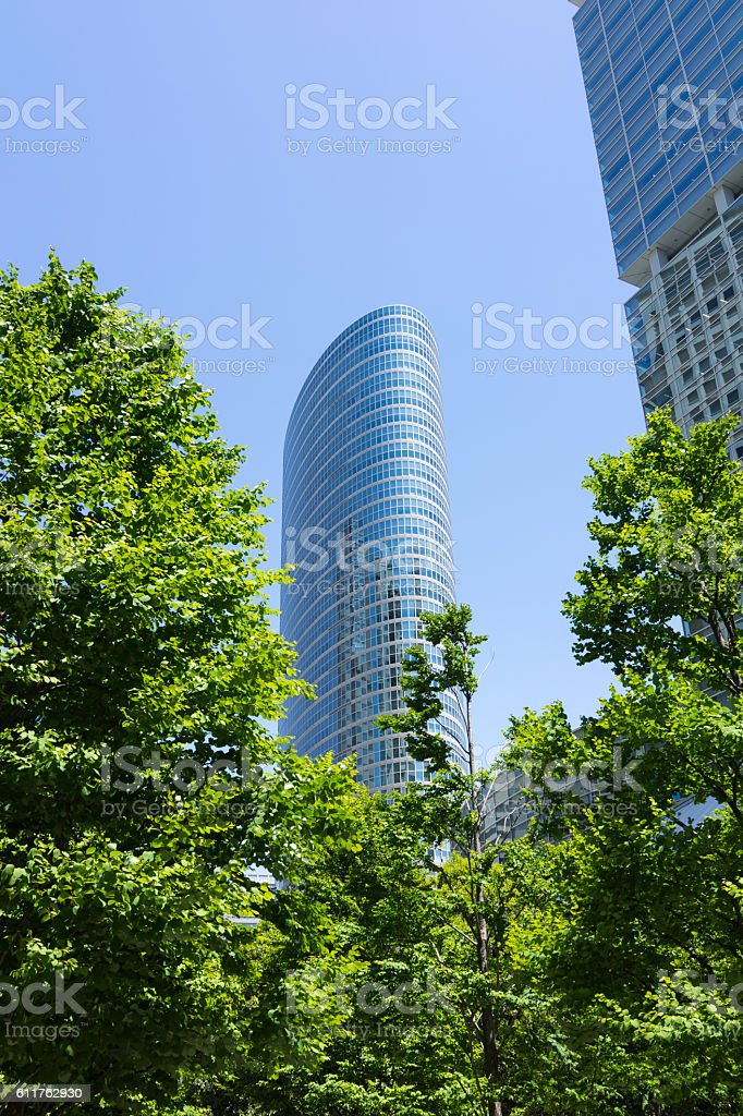 Modern high rise building in Tokyo, Japan. There is building.