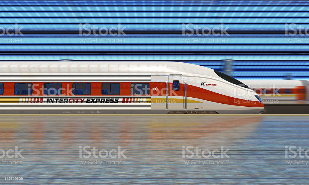 Modern high speed train at the railway station stock photo