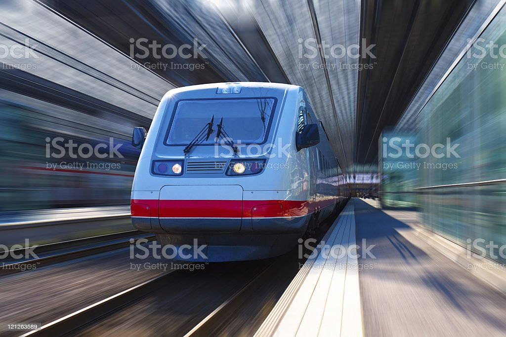 Modern high speed train with motion blur effect royalty-free stock photo