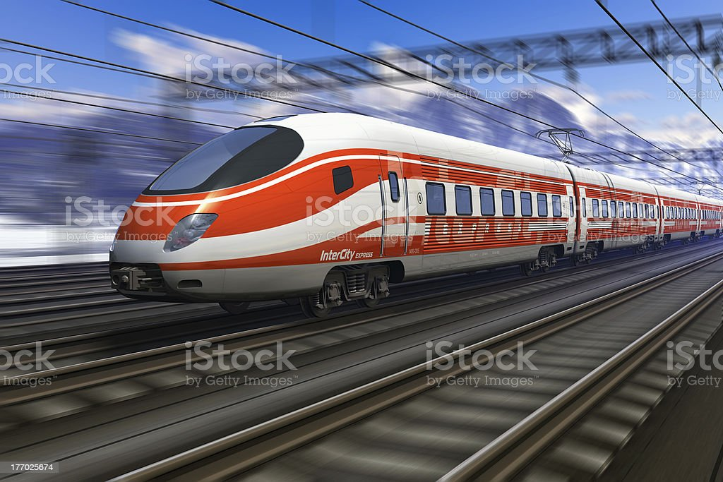 Modern high speed train with motion blur stock photo