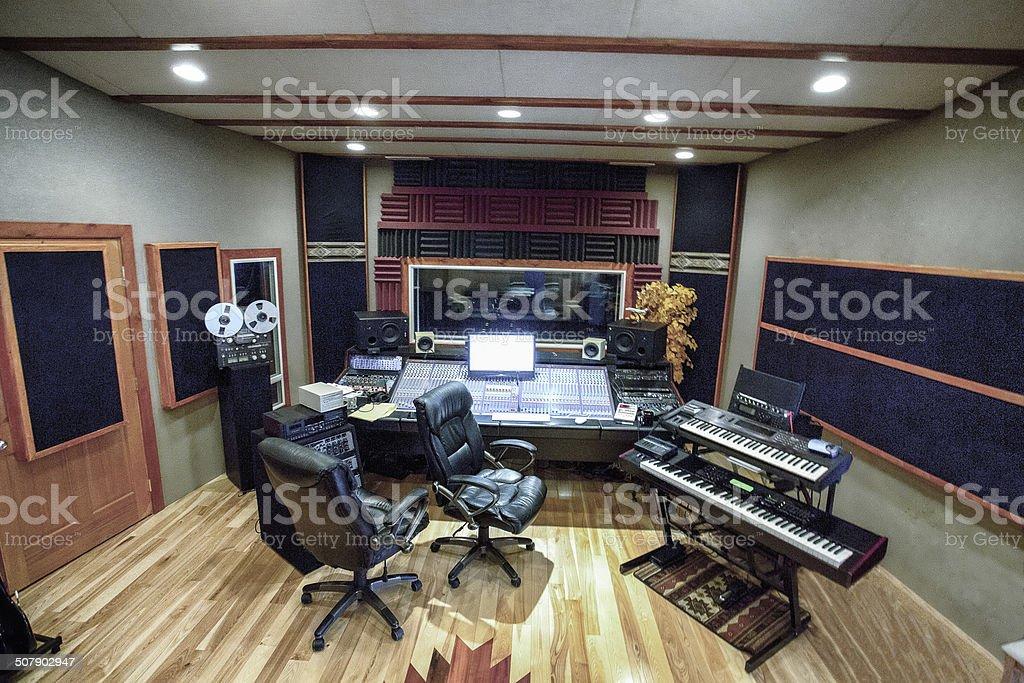 Modern High Tech Recording Studio Wide Angle stock photo