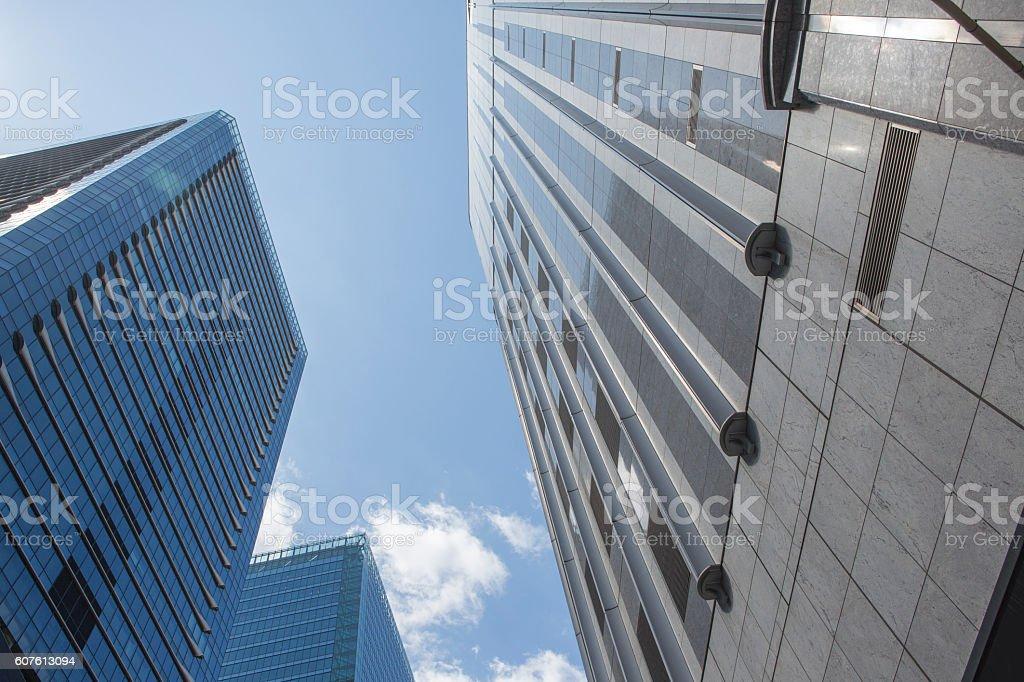 Modern Highrise buildings at citycenter of osaka japan stock photo