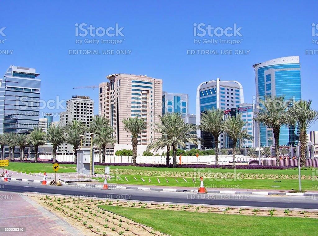 Modern high-rise buildings in Dubai stock photo