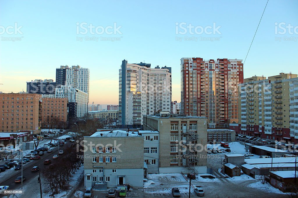 Modern high-rise residential house in Ekaterinburg in the early morning stock photo