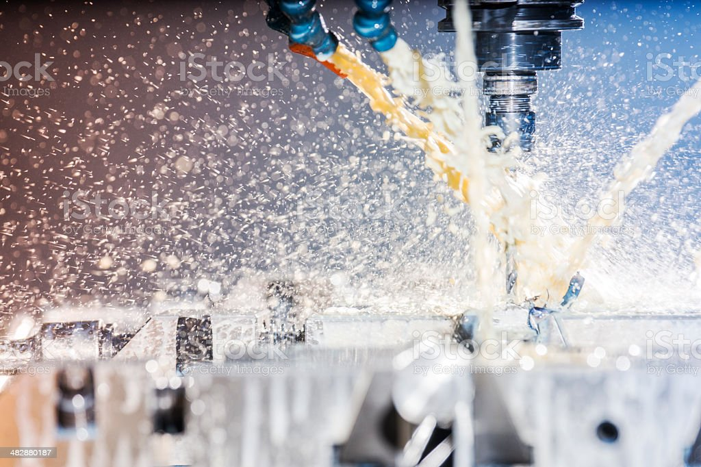 Modern, high-tech, CNC, metal milling machine. stock photo