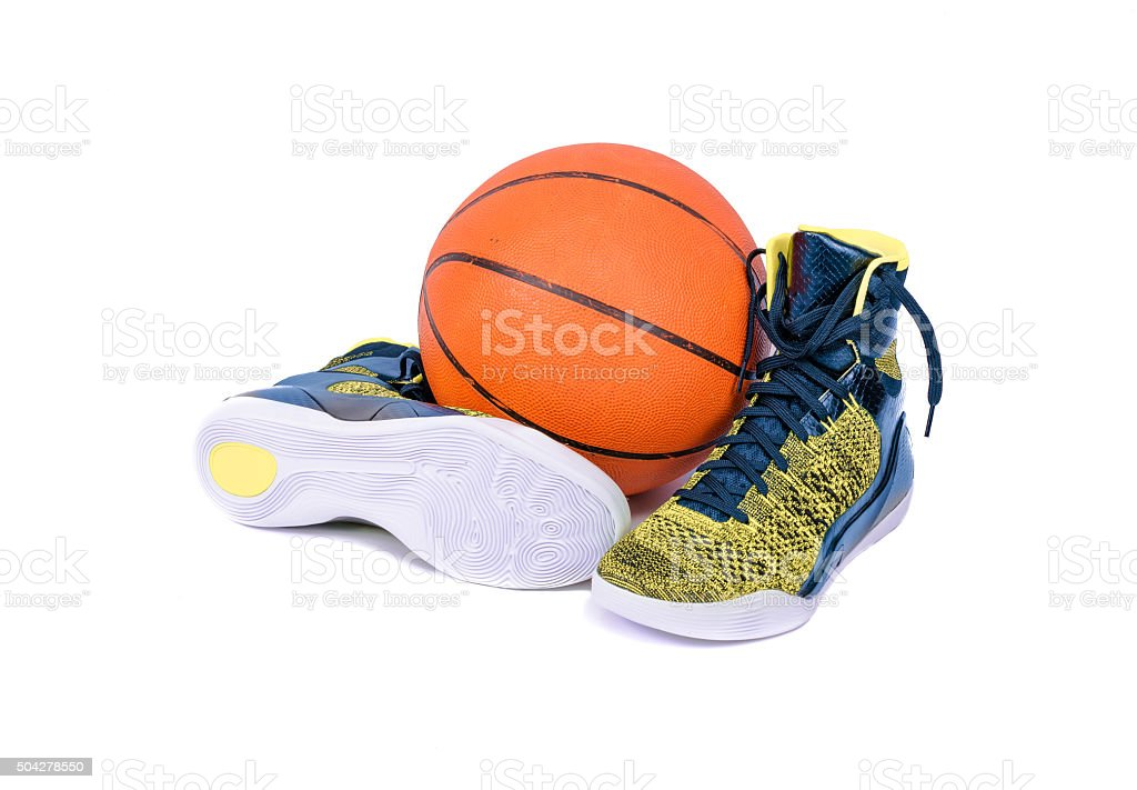 Modern high-top yellow and blue basketball shoe sneaker stock photo