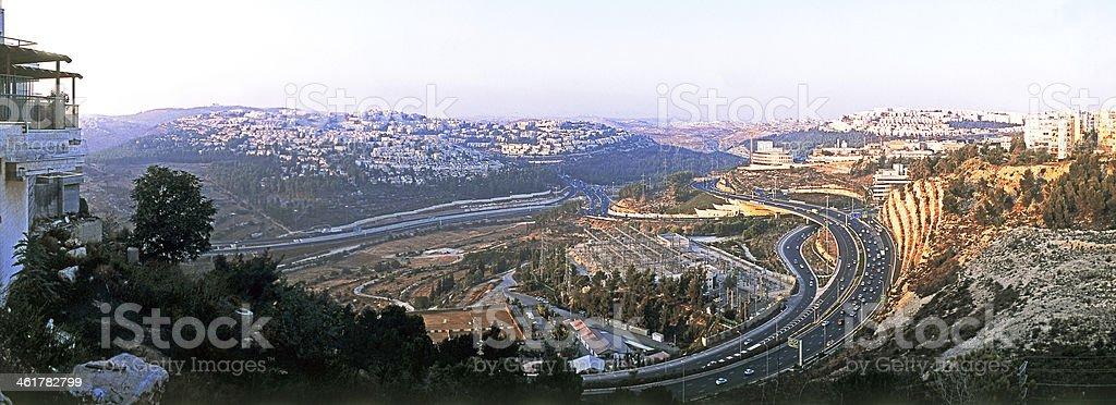 Modern highway and new housing, Jerusalem. stock photo