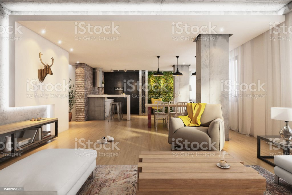 Modern hipster apartment interior living room stock photo