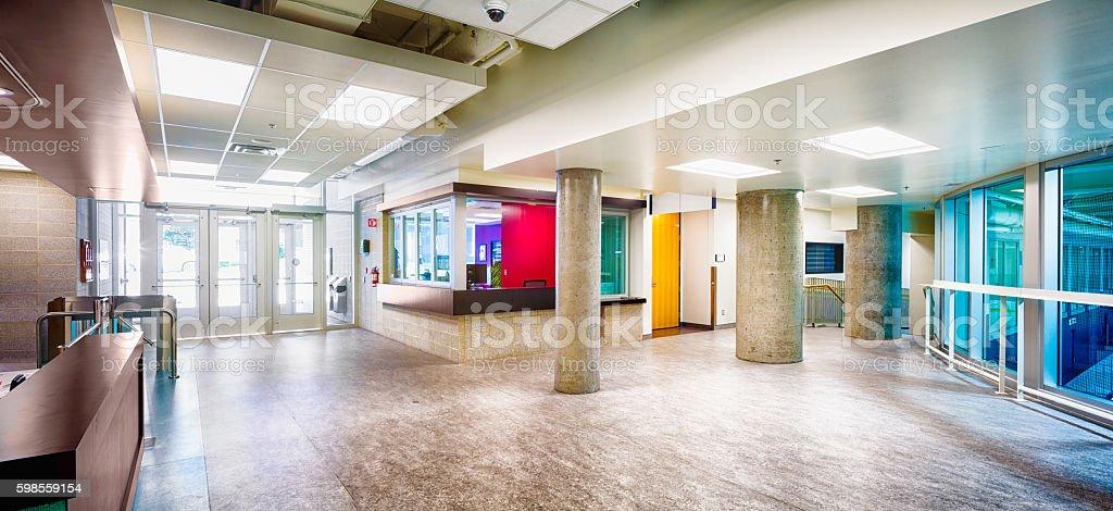 Modern hockey Arena entrance hall lobby panorama stock photo